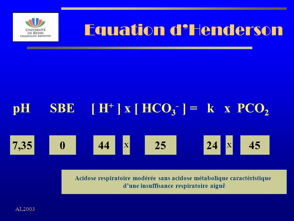 Equation d'Henderson pH SBE [ H+ ] x [ HCO3- ] = k x PCO2 7,35 44 25